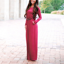 Women's O-Neck Casual Maxi Dress Long Sleeve Sexy Club Dresses Party Solid Dress Vestidos With Belt Autumn Clothings