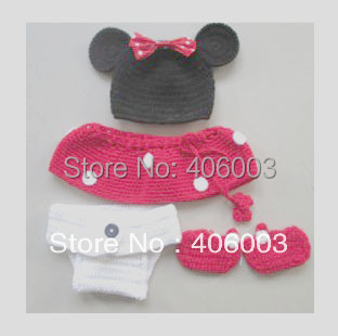 US $13 5 |Free Shipping Cute Baby Mouse Hat Handmade Crochet Photography  Props Infant Costume Clothing Skirt Set Knitted Beanies for KIds-in Hats &