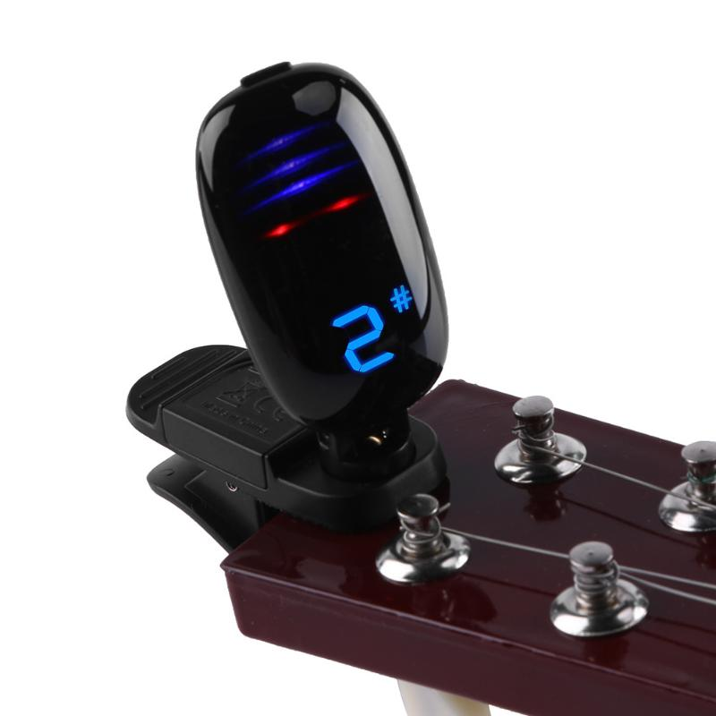 FT-16 B0-B7 Portable Digital Tuner Universal Clip-on Guitar Tuner for Guitar Bass Violin Ukulele Guitar Parts & Accessories zebra 2 in 1 clip tuner metronome 360 degree rotatable clip guitar tuners machines for guitar beat tempo bass violin ukulele