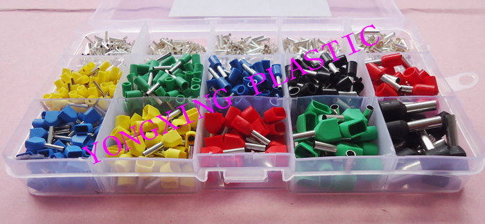 6 color 15 value 2265pcs/lot Bootlace cooper Ferrules kit set Wire Copper Crimp Connector Insulated Cord Pin End Terminal wholesal e1008 insulated cable cord end bootlace ferrule terminals tubular wire connector for 1 0mm2 wire 1000pcs