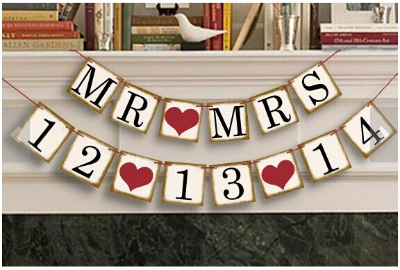 Customized Date Bunting Banner Save The Date Heart Wedding Signs Anniversary Garland Birthday Party Decoration Photo Props