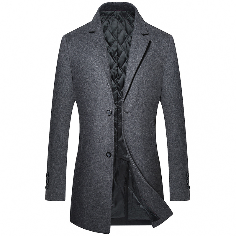 New Long   Trench   Coat Men Fashion Wool   Trench   Jacket Casual Windbreaker Mens Winter Thicken Outwear Overcoat R1639