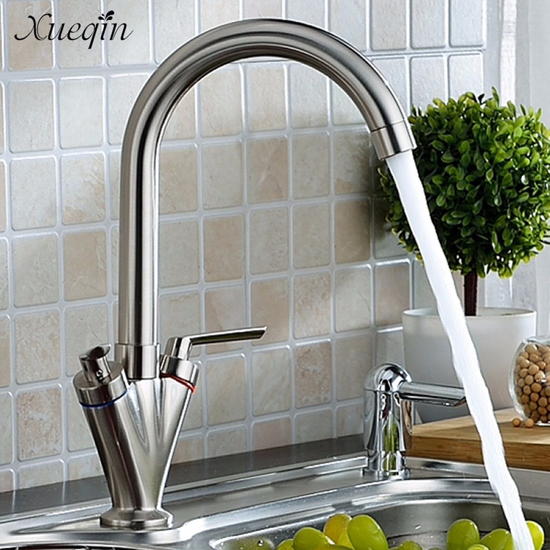 Xueqin Double Handle Kitchen Sink Basin Water Faucet Nickel Brush Swivel Bathroom Bathtub Mixer Tap With