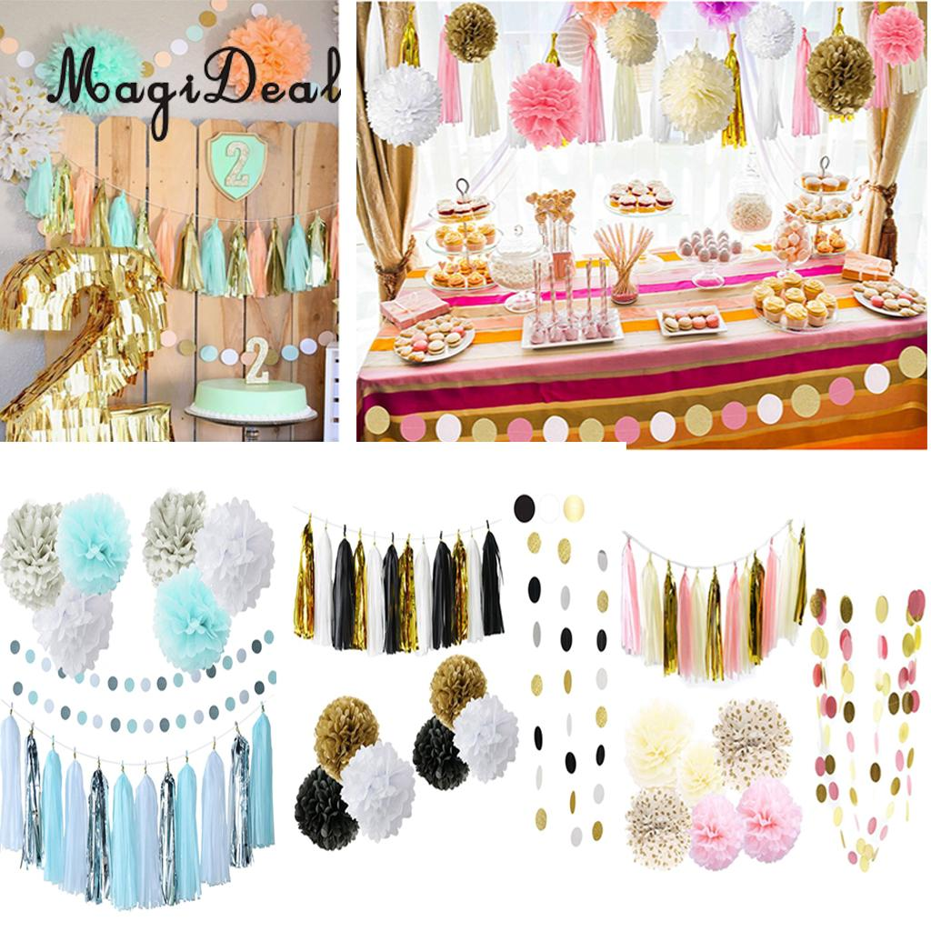 MagiDeal New Hot Sale 20Pcs/Set Tissue Paper Flowers Balls Tassels Banner Garland Party  ...