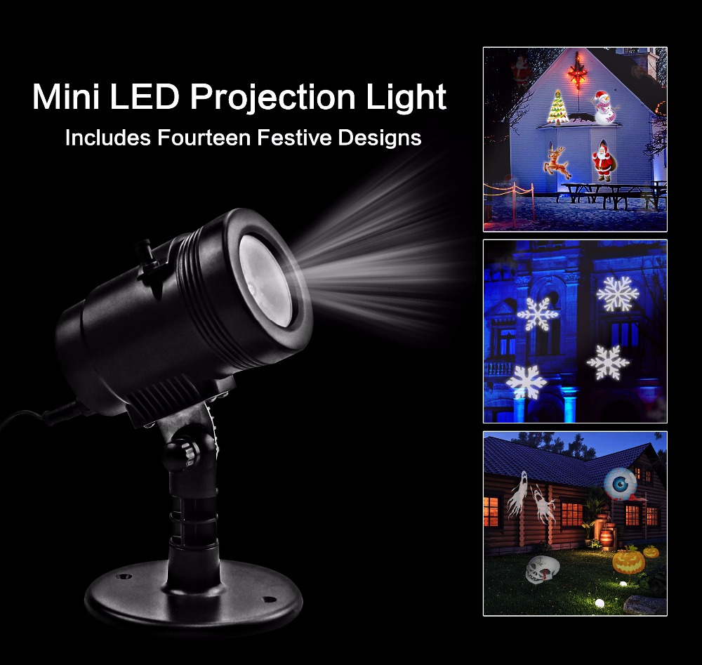 2017 UL CE outdoors LED 14 Replaceable Halloween Christmas Landscape Mini Projector Night light for font