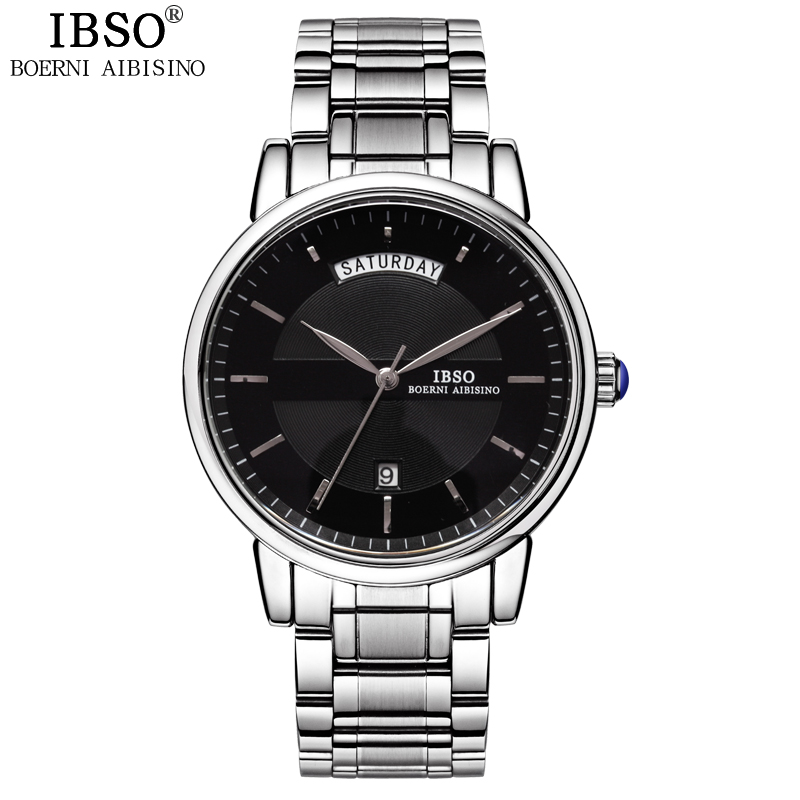 IBSO Business Week Display Mens Watch Gentleman Multifunction Quartz watch Men Leisure Complete Calendar Relogio Masculino
