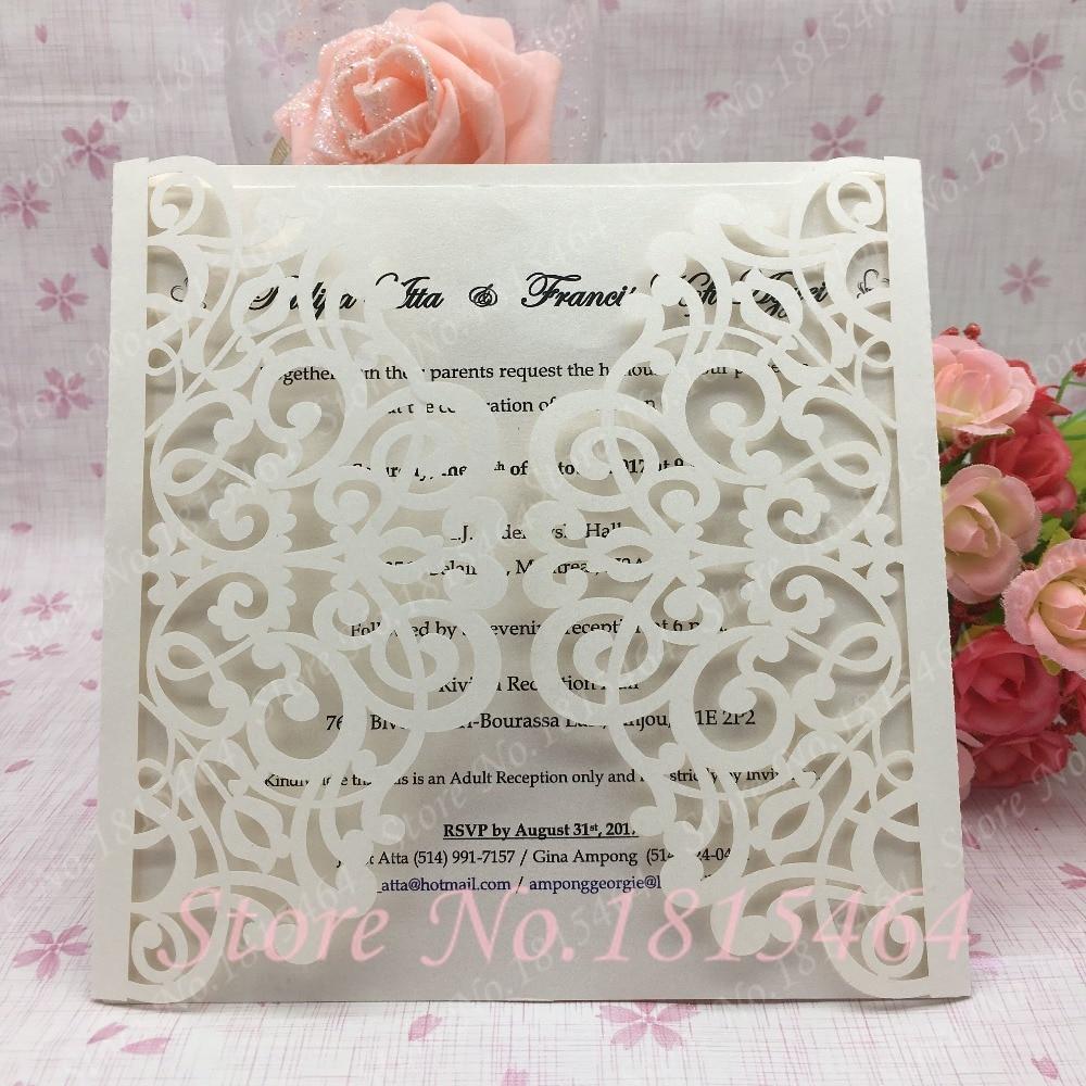50pcs Laser cut wedding invitations sets, wedding cards invitations of marriage,invitations for party supplies