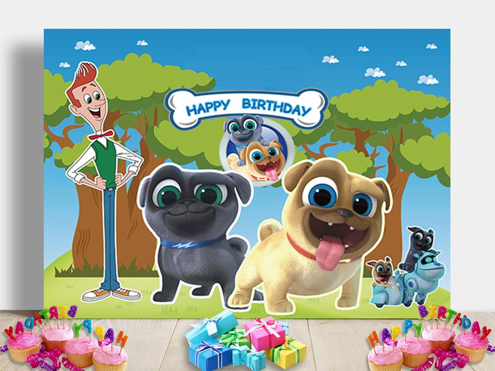 Cartoon Puppy Dog Pals Theme <font><b>Backdrop</b></font> <font><b>Boys</b></font> Girl Birthday Party Photography Background Cake Table Banner <font><b>Baby</b></font> <font><b>Shower</b></font> Decoration image