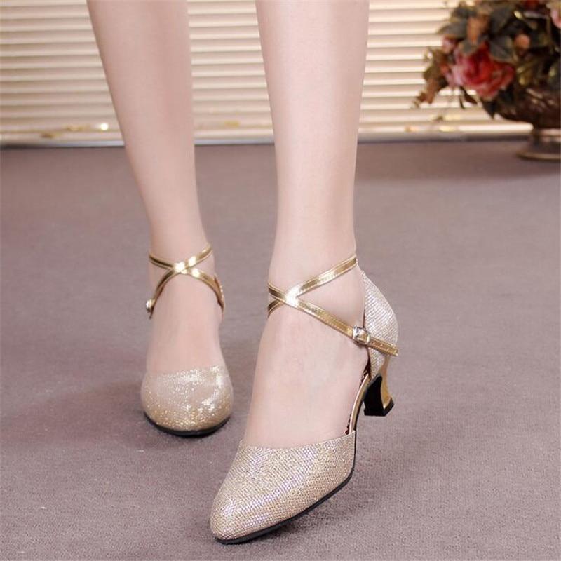 Girls Shoes Ballroom High-Heel Female Kids Children Latin Soft-Sole