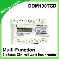 DIN Rail Watt Hour Meter With Multi Function LCD Enery Meter Mounting Active KWH Meter 30