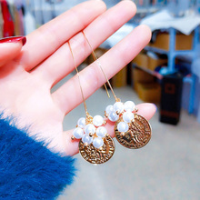 Korean Fashion Metal Winding Ball Imitation Pearl Long Drop Earrings For Women Girls Trendy Simple Hook Dangle Jewelry