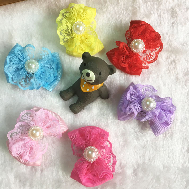 Pet Products Home & Garden 1 Pair Handcrafted Pet Hair Bows New Designs Ribbon Dog Cat Hair Accessories With Lace Length About 2 Inch 6 Colors