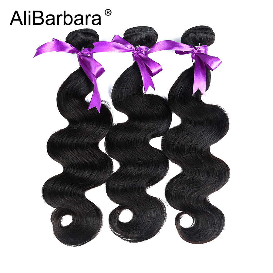AliBarbara Hair Product Peruvian Body Wave Hair 3Bundles Human Hair - Human Hair (For Black)