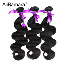 AliBarbara Hair Product Peruvian Body Wave Hair 3Bundles Mänskliga Hårvävspapper Non Remy Hair Extension 1B # 8-28 inch