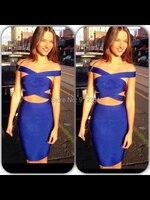 Freies verschiffen 2015 neue ankunft beste qualität zwei stück blau HL verband-kleid bodycon verband-kleid-beiläufige Kleider vestidos