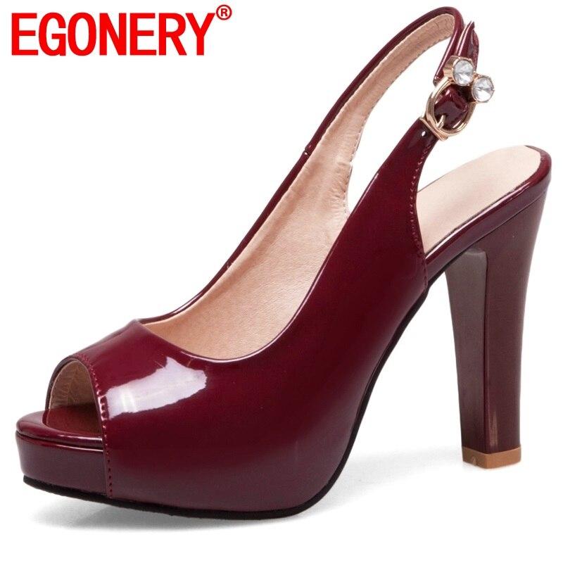 63561234aa6 Cheap EGONERY mujer peep toe bombas tacones moda Zapatos señoras plataforma  super alto tacón PU charol