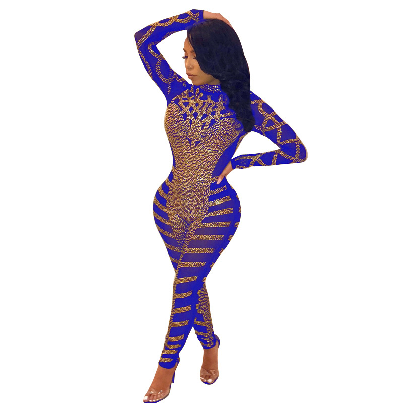 Adogirl Sparkle Asymmetrical Diamonds Sheer Mesh Jumpsuit Mock Neck Long Sleeve Women Sexy Night Club Party Romper Bodysuits