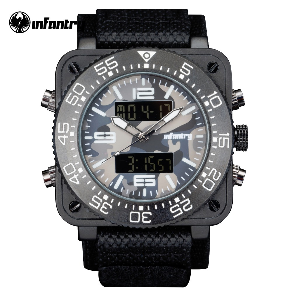 INFANTRY Top Brand Men Watch Sports Military Watches Multi functional Digital Nylon Rubber Strap Wristwatches Camouflage
