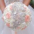 Кот & coral лента розы свадебный брошь букет невесты Свадебные невеста, холдинг цветы Жемчуг украшения букетов