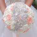 Ivory & coral ribbon roses  bridal brooch bouquet Wedding bridesmaid bride holding flowers Pearl embellishment bouquets