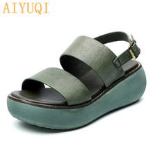 AIYUQI Women sandals genuine leather2019 new summer womens retro platform wedge casual footwear red shoes for women