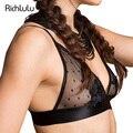 RichLuLu Mulheres Moda Preto Sexy Plunge V Elegante Flor Rendas Bralette Ajustável Alças de Sutiã Sem Fio Empurrar Para Cima de Bolinhas