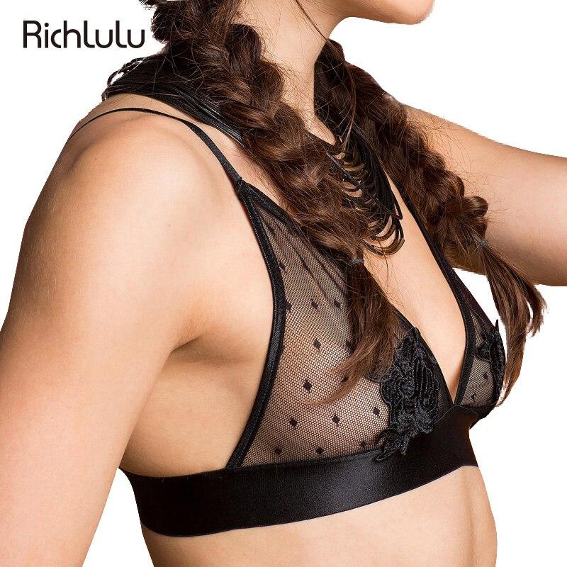 RichLuLu Women Fashion Sexy Black Plunge V Elegant Flower Lace Adjustable Straps <font><b>Bra</b></font> Wireless <font><b>Push</b></font> Up <font><b>Polka</b></font> <font><b>Dots</b></font> Bralette