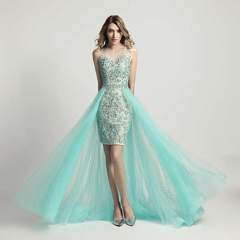 הכי חדש עיצוב תחרה אפליקציות קוקטייל שמלות עם ואגלי אשליה טול חצאית אור הברך אורך ערב נשף מסיבת שמלת OL441