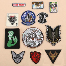 Animal Fox Dog Badge Patch For Clothing Embroidered Iron On Patches Embroidery Sew DIY Coat Shoes Accessories