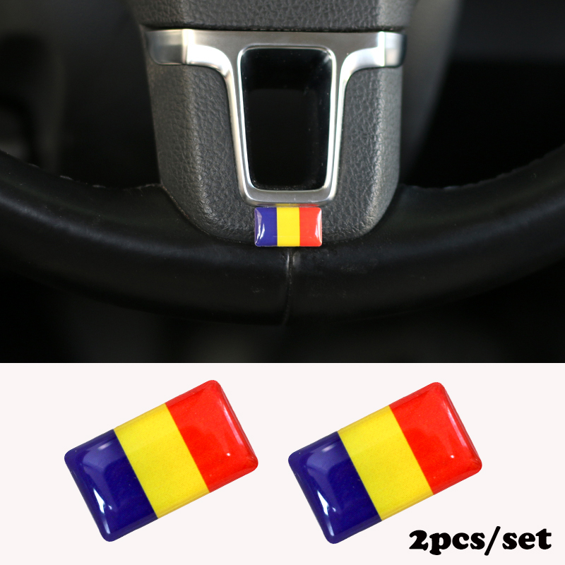 2pcs/set Steering Wheel 3D Epoxy Car Styling Fit For Peugeot 307 Peugeot 206 308 207 406 Shield Flag Car Sticker National Emblem