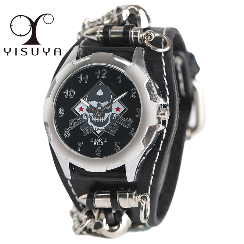 YISUYA Fashion Gothic Style Creative Watch Men's Rock Punk Cuff Bullet Chain Quartz Clock Cool Skull Bracelet Gift Reloj Hombre new arrival cool punk bracelet quartz watch wristwatch skull bullet chain gothic style analog leather strap men women xmas gift
