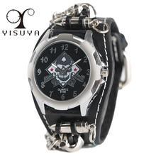 YISUYA Fashion Gothic Style Creative Watch Men's Rock Punk Cuff Bullet Chain Quartz Clock Cool Skull Bracelet Gift Reloj Hombre