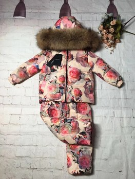 2018 Winter jacket child down jackets raccoon fur hood twinset outdoor ski suit down jacket boy girls outerwear children parka