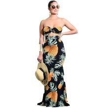 Runway Fruit Print Maxi Dress Casual Strapless Mermaid Bodyc