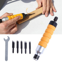 1 Set Wood Chisel Carving Tool Set Chuck Attachment For Electric Drill Flexible Shaft ALI88