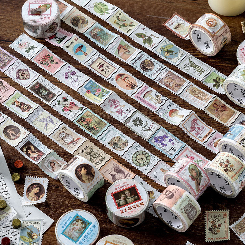 2.5cm*5m Retro Flower Painting Stamp Washi Tape Stickers Scrapbooking Masking Tape School Office Supplies Bullet Journal Sl2095