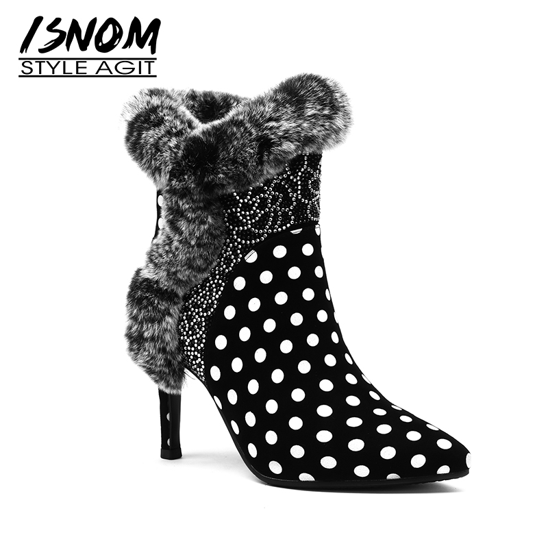 ISNOM High Heels Women Ankle Boots Crystal Pointed Toe Zip Footwear Print Party Polka Dot Female Boot Shoes Woman 2018 Winter high waist polka dot print trumpet pants