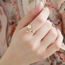 Очаровательное Золотое серебряное кольцо для женщин оливковое дерево ветка листья Открытое кольцо для женщин девушка обручальные кольца регулируемое; кулак ювелирные изделия на палец