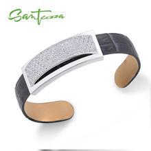 SANTUZZA, серебряный браслет, браслеты для женщин, мужчин, 925 пробы, серебряный, регулируемый браслет, синий, натуральная кожа, панк стиль, модное ювелирное изделие