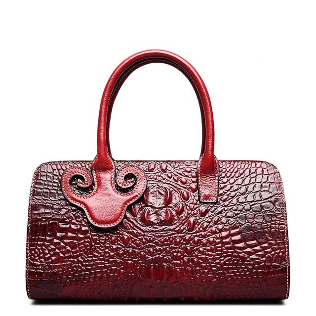 QISU Fashion Women Embossed Crocodile handbags a single shoulder strap women bag with silt pocket