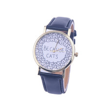 Cheap Watches For Women Vogue BECAUSE CATS Letters Print Quartz Watch Men Dress Hour Clock Relogio Feminino Wholesale Montre