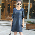Autumn Dress Plus Size M~3XL Women Clothing Loose Waist Solid Color Women Dress Long Sleeve Denim Dress Casual Vestidos