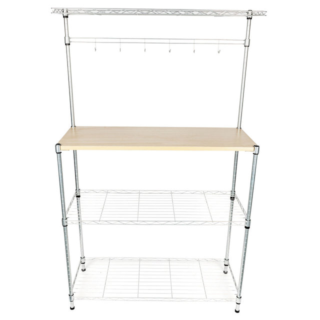 4 Tier Kitchen Bakers Rack Home Dining Microwave Stand Storage Shelf Workstation Us