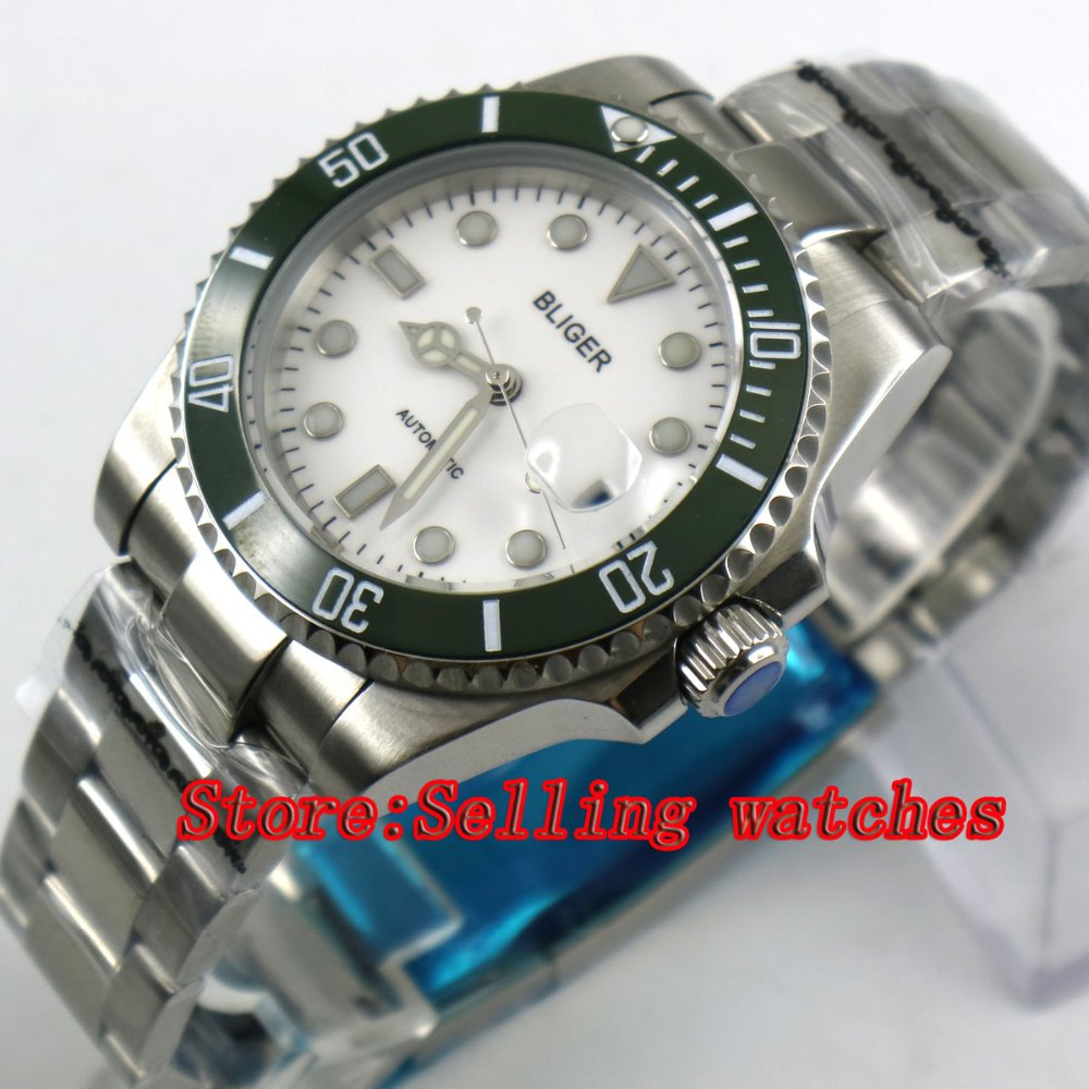40mm Bliger white Dial green ceramic bezel Sapphire Glass Date Window Automatic Movement Men's Mechanical Wristwatches utilization of palm oil mill wastes