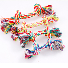 1 pcs Pets dogs Toy Double Knot Cotton Rope Puppy Chewing Cleaning Tooth Durable Braided Bone Random Colors