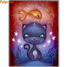 Peter ren DIY Diamond Painting Cross stitch kit Anime 5d Round mosaic full icon Embroidery Cartoon cat and fish