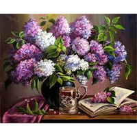 Diy 5d Diamond Painting Lilac Cup Book Diamond Embroidery Flowers Square Diamond Mosaic Sequins Art Full