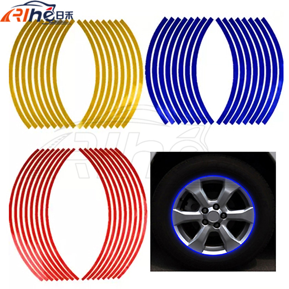 new style 17/18 inch new flame reflective rim tape wheel stripes stickers vinyl decal motorcycle car wheel reflective stickers