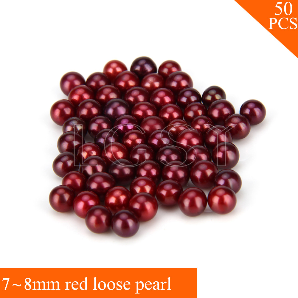 Fashion Bright color 7-8mm AAA Red saltwater round akoya loose pearls 50pcs for women fitting Jewelry brief style v neck 1 2 sleeve loose fitting solid color blouse for women
