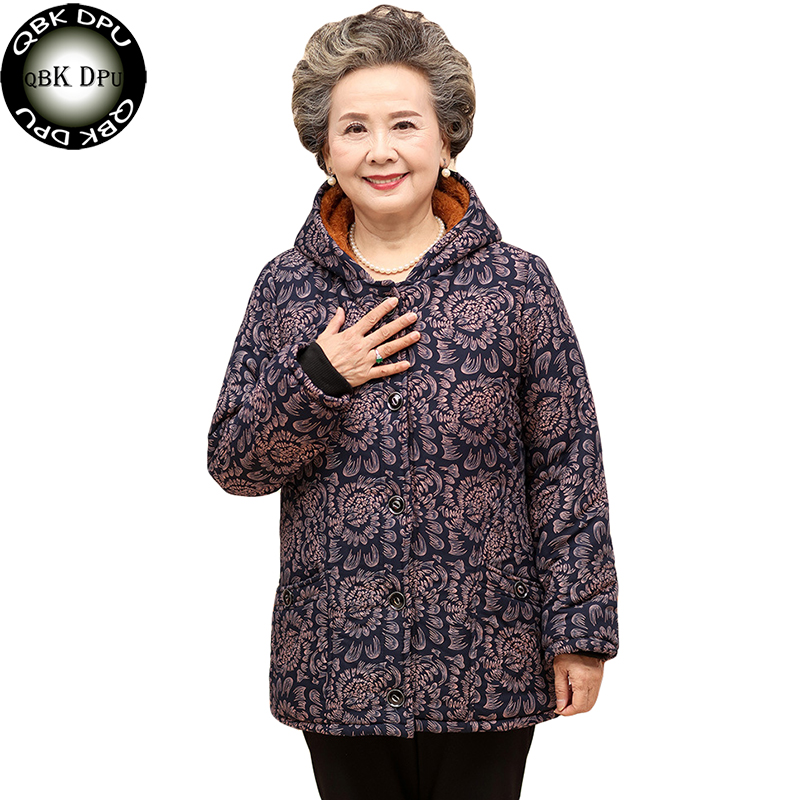 Casual Prints Long Sleeve Hooded Jackets For Elderly Women Winter Warm Cotton Padded Coats Plue Size Ladies Outerwear   Parkas